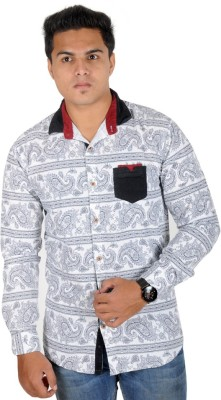 Yomaa Men's Printed Festive White Shirt