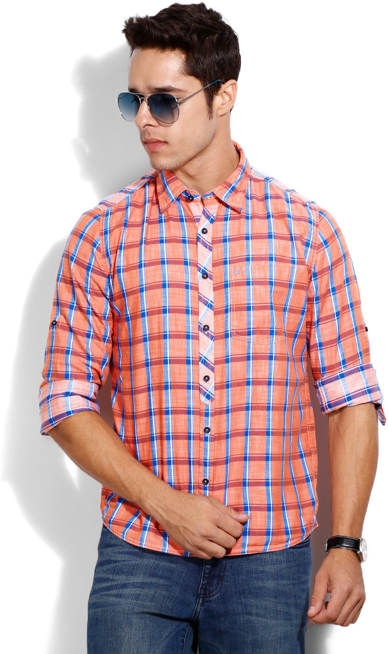 London Bridge Men's Checkered Casual Blue, Orange Shirt