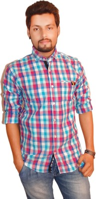 La Milano Men's Checkered Casual Pink Shirt