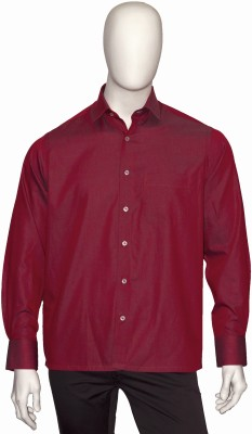 Cotton Natural Men's Solid Formal Red Shirt