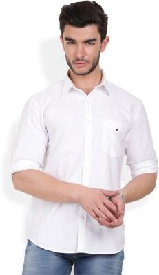 Bay Ridge Men's Solid Casual White Shirt