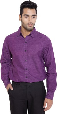 Deeksha Men's Solid Formal Purple Shirt