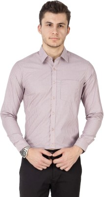 Kanva Men's Striped Casual Pink Shirt