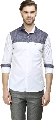 Human Steps Men's Solid Casual Blue, White Shirt