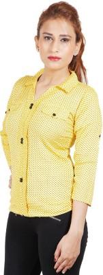Sealion Women's Polka Print Casual Yellow Shirt