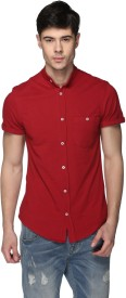 CLUB YORK Men's Solid Casual Red Shirt