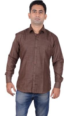 Aces Blue Men's Solid Formal Brown Shirt