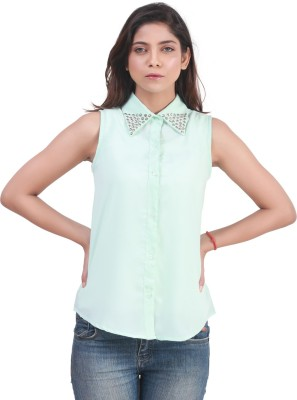 Bloomy Women's Solid Casual Light Blue Shirt
