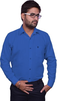 United Polo Hills Men's Solid Formal Blue Shirt