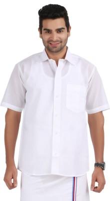 Prakasam Cotton Men's Solid Formal White Shirt