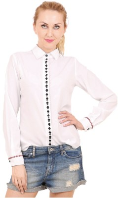 Hermosear Women's Embroidered Casual White Shirt