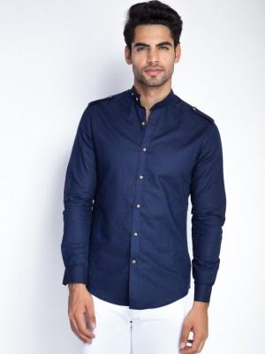 Mr Button Men's Solid Casual Linen Blue Shirt