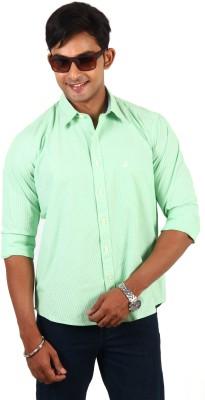 Barrier Reef Men's Striped Casual Light Green, White Shirt
