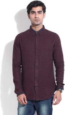 United Colors of Benetton Men's Self Design Casual Blue, Maroon Shirt