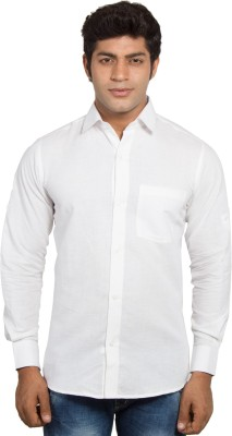 Nauhwar Men's Solid Formal Linen White Shirt