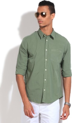 GAS Men's Solid Casual Green Shirt