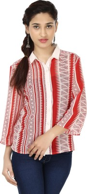 India Inc Women's Printed Casual Red, White Shirt