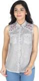 So Urban Women's Solid Casual Grey Shirt