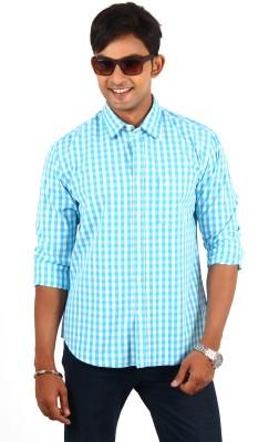 Barrier Reef Men's Checkered Casual Light Blue, White Shirt