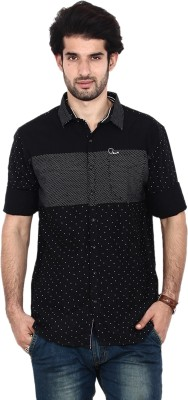 FRD13 Men's Striped Casual Black Shirt