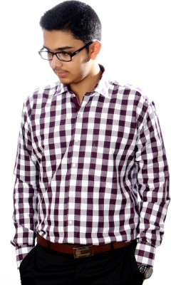 AADUKI Men's Checkered Formal Purple Shirt