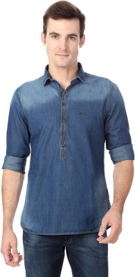 Peter England Men's Solid Casual Blue Shirt