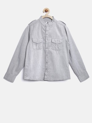 Yk Boy's Self Design Casual Grey Shirt