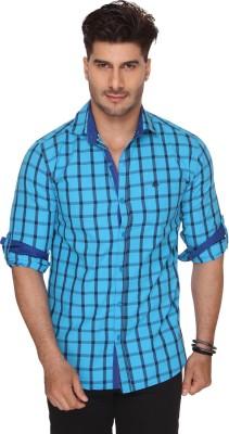 Ramarrow Men's Checkered Casual Blue Shirt