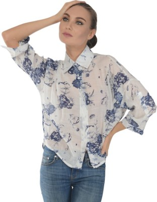Trend Notes Women's Printed Casual Blue Shirt