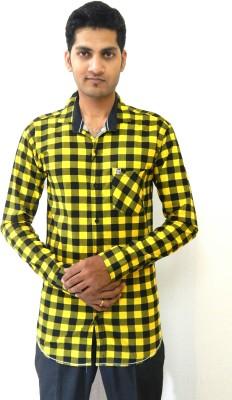 SmartPlay Men's Checkered Casual Yellow Shirt