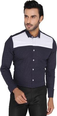 Mode De Base Italie Men's Polka Print Casual, Formal Dark Blue Shirt