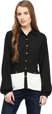 Rare Women,s Solid Casual Black Shirt