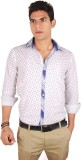 Liswan Men's Printed Casual White Shirt