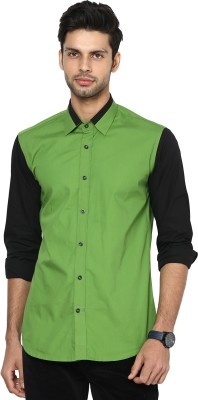 See Designs Men's Solid Casual Green, Black Shirt