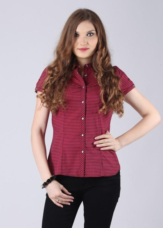 Calvin Klein Women's Checkered Casual Red, Black Shirt