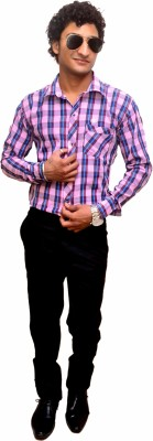 Attitude Works Men's Checkered Casual Pink Shirt