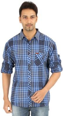 Spykar Men's Checkered Casual Blue Shirt