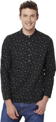 Chumbak Men's Printed Casual Linen Black Shirt