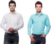Fedrigo Formal Shirts (Men's) - Fedrigo Men's Solid Formal White, Light Blue Shirt(Pack of 2)
