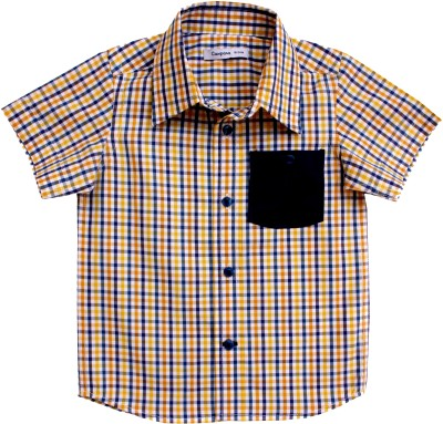 Campana Boy's Checkered Casual Yellow Shirt