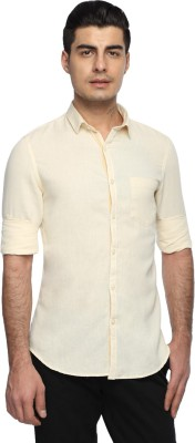 Marc N, Park Men's Solid Casual Linen Beige Shirt