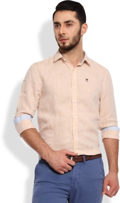 Oxford Club Men's Solid Casual Linen Brown Shirt
