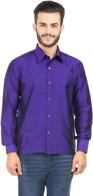 Kaatru Men's Solid Casual Purple Shirt