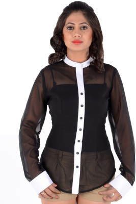 S9 Women's Solid Party Black, White Shirt