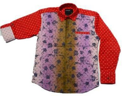 Chinar Boy's Printed Casual Red Shirt