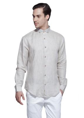 Karsci Men's Solid Lounge Wear Linen Beige Shirt
