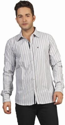 P4 Men's Striped Casual Blue, Brown Shirt
