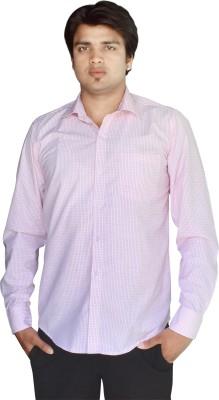 Kartier Men's Checkered Casual Pink Shirt