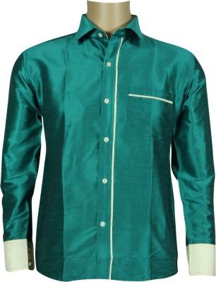 KENRICH Men's Solid Casual Green Shirt