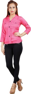 Sealion Women's Polka Print Casual Pink Shirt